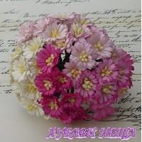 Цветя от Мълбери хартия- Маргаритка 30мм Микс Розово и Бяло 5бр