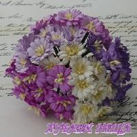 Цветя от Мълбери хартия- Маргаритка 30мм Микс Пурпурно и Бяло 5бр