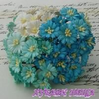 Цветя от Мълбери хартия- Маргаритка 30мм Микс Синьо и Бяло 5бр