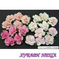 Цветя от Мълбери хартия Карамфил 25мм Микс Розово 4бр