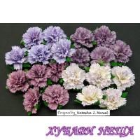 Цветя от Мълбери хартия- Карамфил 25мм Микс Пурпурно/Лилаво 4бр