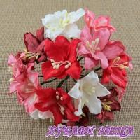 Цветя от Мълбери хартия Лилия 40мм Микс Червено/Бяло 5бр