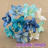 Цветя от Мълбери хартия- Лилия 40мм Микс Синьо/Бяло 5 бр