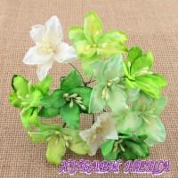 Цветя от Мълбери хартия- Лилия 40мм Микс Зелено/Бяло 5 бр