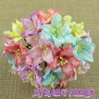 Цветя от Мълбери хартия- Лилия 40мм Микс Пастелни Цветове 10 бр