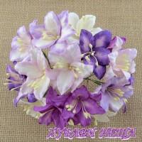 Цветя от Мълбери хартия- Лилия 40мм Микс Пурпурнo/Лилав 5 бр