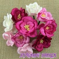 Цветя от Мълбери хартия- Магнолия 35мм Микс Розово 5 бр