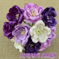 Цветя от Мълбери хартия- Магнолия 35мм Микс Пурпурно/Лилаво 5 бр