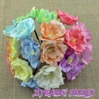 Цветя от Мълбери хартия- Магнолия 35мм Микс Пастелни Тонове 10 бр