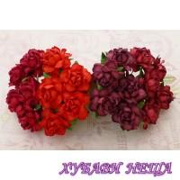 Цветя от Мълбери хартия Кичеста Роза 25 мм Микс Червено 4 бр