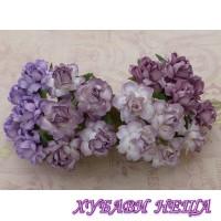 Цветя от Мълбери хартия Кичеста Роза 25мм Микс Пурпурно/Лилав 4бр