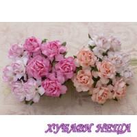 Цветя от Мълбери хартия Кичеста Роза 30мм Микс Розово 4бр