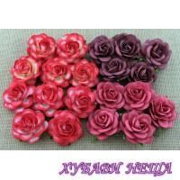 Цветя от Мълбери хартия Пергола Роза 35 мм Микс Червени тонове 4 бр