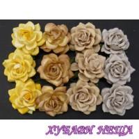 Цветя от Мълбери хартия Пергола Роза 35мм Микс Земни тонове 4бр
