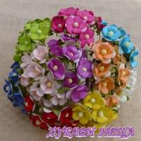 Цветя от Мълбери хартия Цветчета 15мм Микс Цветове 10бр