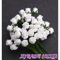 Цветя от Мълбери хартия Розова пъпка 10мм Бял 10бр