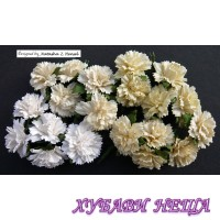 Цветя от Мълбери хартия- Карамфил 25мм Микс Бяло/Кремаво 4бр