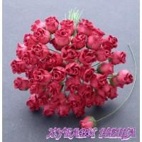 Цветя от Мълбери хартия Розова пъпка 10мм Тъмен Корал 10бр