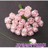 Цветя от Мълбери хартия Розова пъпка 10мм Бебешко розово 10бр