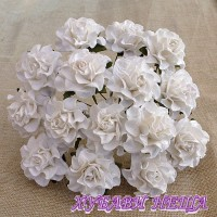 Цветя от Мълбери хартия Тоскана Рози 30мм Бяло 4бр