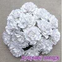 Цветя от Мълбери хартия Тоскана Рози 35мм Бяло 4бр