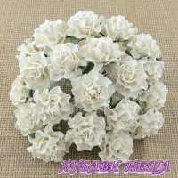 Цветя от Мълбери хартия Тоскана Рози 35мм Слонова кост 4бр
