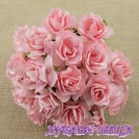 Цветя от Мълбери хартия Дива Роза 40мм Бледо Розово 5бр