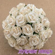 Цветя от Мълбери хартия Дива Роза 40мм Слонова кост 5бр