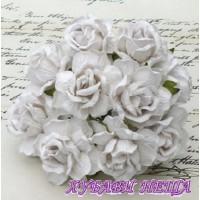 Цветя от Мълбери хартия Дива Роза 40мм Бяло 5бр