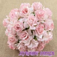 Цветя от Мълбери хартия Дива Роза 40мм 2-тона Бебешко розово 5бр