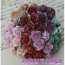 Цветя от Мълбери хартия Рози 15мм Винтидж цветове 10бр
