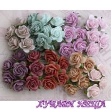 Цветя от Мълбери хартия Рози 25мм Винтидж цветове 10бр