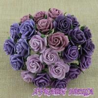 Цветя от Мълбери хартия Рози 10мм Микс Пурпурно/Лилаво 10бр