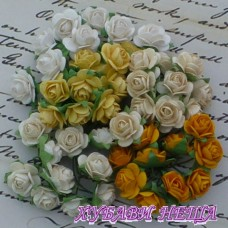Цветя от Мълбери хартия Рози 10мм Микс Земни тонове и бяло 10бр