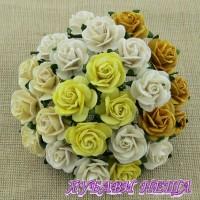 Цветя от Мълбери хартия Рози 15мм Микс Земни тонове и бяло 10бр