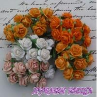 Цветя от Мълбери хартия Рози 15мм Микс Оранжев/Праскова и Бяло 10бр