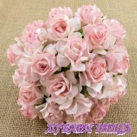 Цветя от Мълбери хартия Дива Роза 30мм Розово и Тъмно розово 5бр