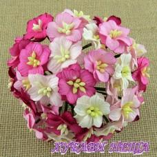 Цветя от Мълбери хартия Ябълков цвят 25мм Микс Розово 5бр