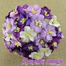 Цветя от Мълбери хартия Ябълков цвят 25мм Микс Пурпурно/Лилаво 5бр
