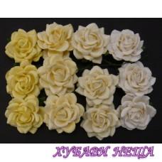 Цветя от Мълбери хартия Пергола Роза 40мм Микс Бели/Кремави тонове 4бр