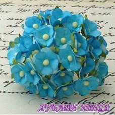 Цветя от Мълбери хартия Цветчета 15мм Тюркоаз 10бр