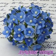 Цветя от Мълбери хартия Цветчета 15мм Синьо 10бр