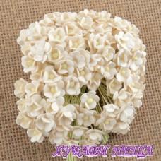 Цветя от Мълбери хартия Цветчета 10мм Слонова кост 10бр
