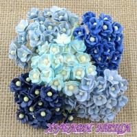 Цветя от Мълбери хартия Цветчета 10мм Микс Синьо 10бр