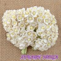 Цветя от Мълбери хартия Цветчета 10мм Бели 10бр