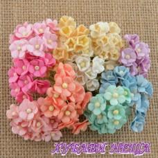 Цветя от Мълбери хартия Цветчета 10мм Пастелни цветове 10бр