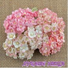 Цветя от Мълбери хартия Цветчета 10мм Микс Розово 10бр