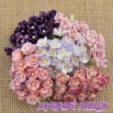 Цветя от Мълбери хартия Цветчета 10мм Микс Пурпурно/Лилаво 10бр