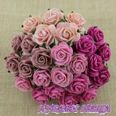Цветя от Мълбери хартия Рози 25мм Микс Розово- 5бр
