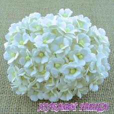 Цветя от Мълбери хартия Цветчета 15мм Бели 10бр